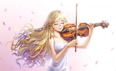 Kaori Miyazono, play, violin, anime art