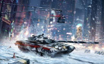 Armored Warfare Online game, winter, tank, battle