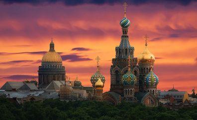 Sunset of Saint Petersburg city