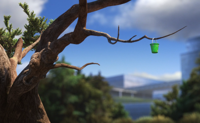 Green small bucket on tree finding dory animation movie