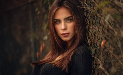 Marlen, girl, model, leaning to fence