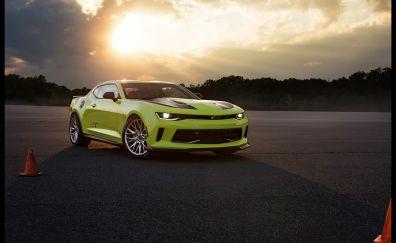 Chevrolet Camaro, green car, side view, sunset