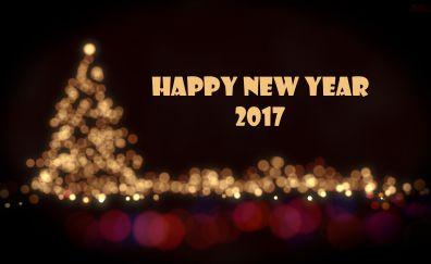 Happy new year 2017 christmas tree wallpaper