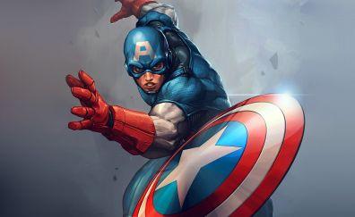 Captain america, marvel comics, superhero, artwork