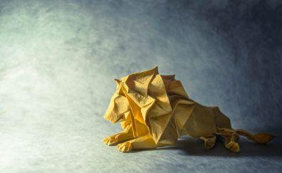 Paper lion, sitting