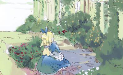 Blonde Alice, Alice in wonderland, sit, anime girl, art