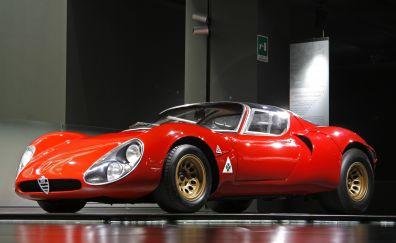 Alfa Romeo, red racing car, side view
