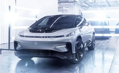 Faraday Future FF91 car, front view, 4k