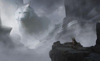 Wolf, warrior, fantasy