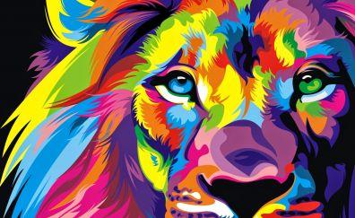 Lion muzzle colorful artwork