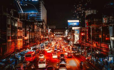 Bangkok, city, night, traffic