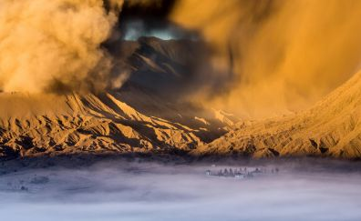 Sandstorm, valley, clouds, desert, mountains