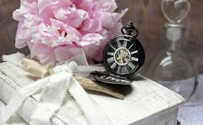 Pink flowers, old watch