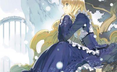 Blonde alice, thinking, Alice in wonderland, anime girl