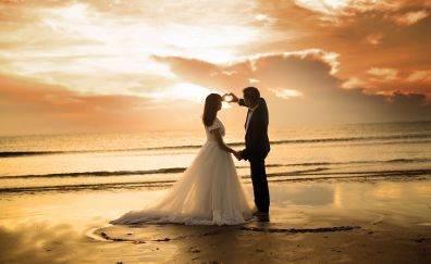 Couple at beach, sunset, love