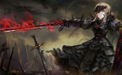 Fate/stay night, dark, girl anime, Saber