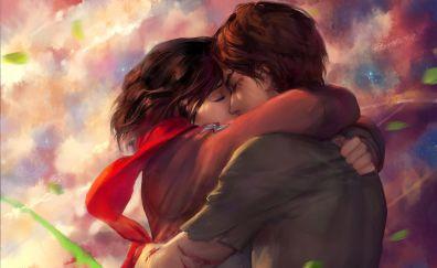 Eren Yeager, Mikasa Ackerman, Attack on Titan, anime couple, kiss