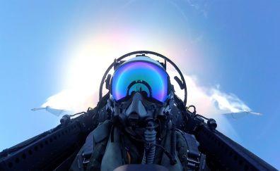 Pilot of plane close up