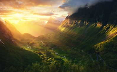 Norway, Geirangerfjord valley, sunrise, nature
