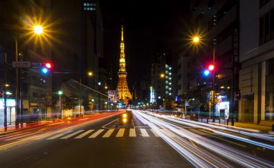 Tokyo city's road in night
