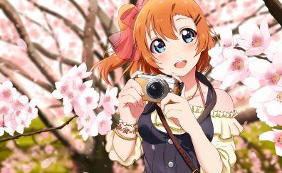 Kousaka Honoka, Love Live!, anime girl, camera, taking photo