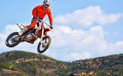 Dirt bike, jumping, sports