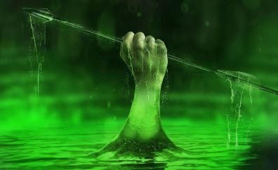 Lazarus pit, Green arrow, season 6, arrow, hand