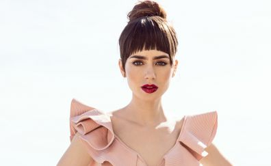 Lily Collins, W magazine photoshoot, lipstick
