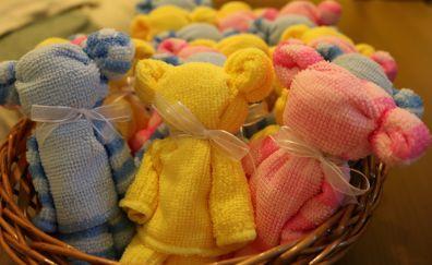 Teddies, towel, basket, gifts