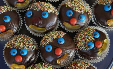 Muffins, clown, cake, pastries, baking
