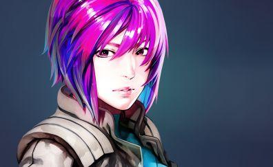 Pink hair, Motoko Kusanagi, face, anime girl