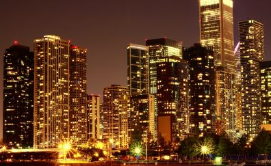 Usa skyscrapers in night