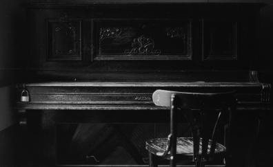 Piano, chair, music, monochrome