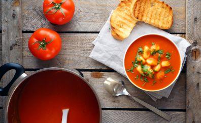 Soup, tomato, gnocchi, toast, herbs, food