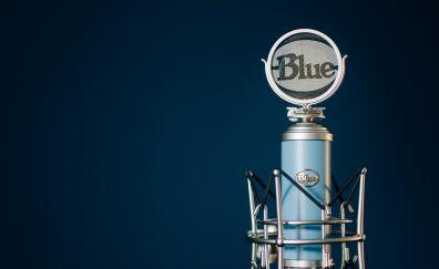 Blue, michrophone, close up