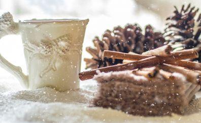 Pine cones, snow, winter, coffee cup