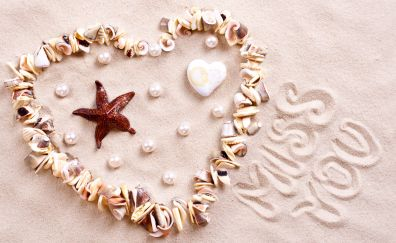 Sand, heart, shells, pebbles, miss you