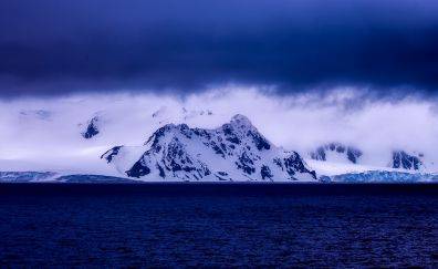 Snow mountains, blue sea, clouds, nature