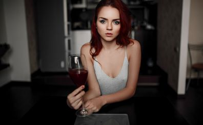 Karoline Kate, red head, model, wine glass