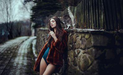 Smoking, hot girl, model, kitten