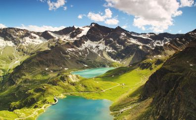 Ceresole Reale, italy, mountains, lake, hills, nature, 4k, 5k