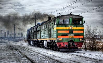Railroad, train, rail, snow, winter