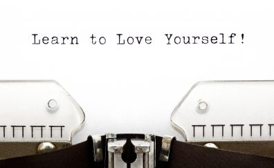 Learn to Love yourself, quote, typography, 4k