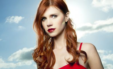 Julie McnIven, red head, celebrity, red lips