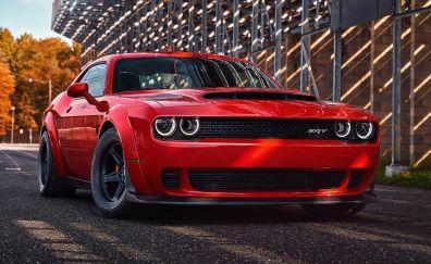 2018 Dodge Challenger SRT demon, red sports car, front view