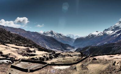 Annapurna circuit, mountains, horizon