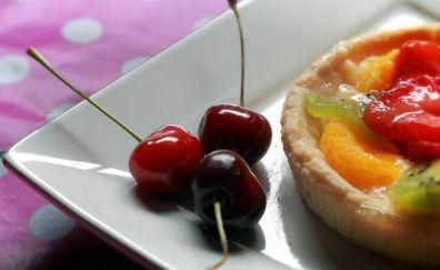 Cherries, dessert on the plate
