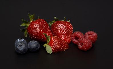 Strawberries, blueberries, raspberries, fruits