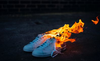 Shoes on fire, flames, sneakers