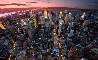 New york, Aerial view, city, night, skyscrapers, buildings